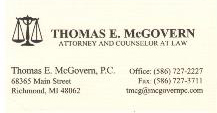 McGovern Business card 2015